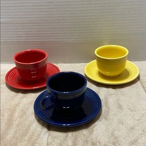 Fiesta Ware Trio of Cups and Saucers